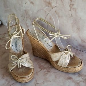 Juicy Couture lace up wedges heels open toe sandal